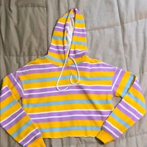 Flirtitude crop top striped hoodie